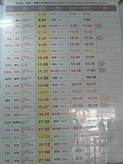 花蓮駅南回りの列車時刻表