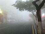 霧に包まれた廈門の町