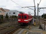 銚子電鉄 銚子駅ホームに入るとこ