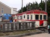 銚子電鉄の犬吠駅に飾られた古い列車