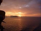 船から見た日暮れ