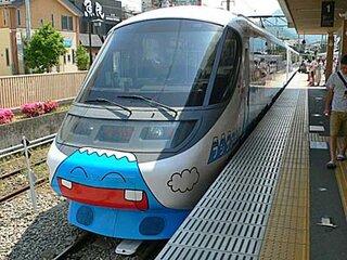 富士山特急で思いもかけず最前列に乗車。元ロマンスカー。