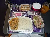 タイ航空 クアラルンプール-バンコク機内食 海老ごはん