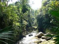 渓谷を挟んだ寺からも川を渡れます