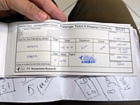 NBA航空のチケット勿論、手書き