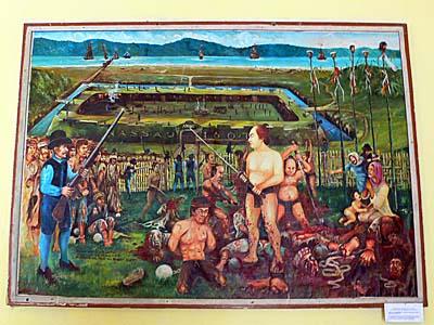 オランダ人の指示により日本人傭兵がバンダ島のお金持ちを大虐殺の絵