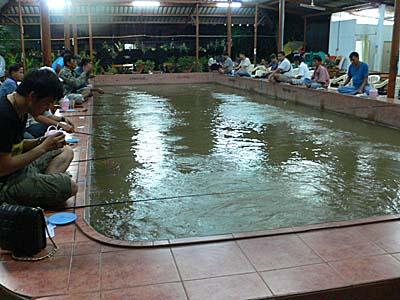 ムーカタチャルンナコンの釣り堀で釣りに興じる人々