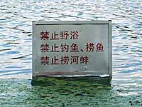 南湖公園の遊泳禁止の看板