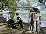 南湖公園で楽器の練習