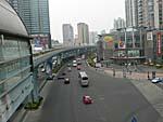 廈門快速公交の陸橋から眺めた町