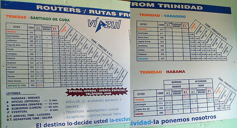 トリニダー発のバスの時刻表:ビアスール社