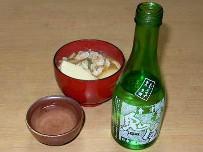 福島の酒と岩手のせんべい汁