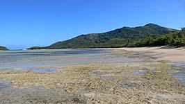引き潮のロングビーチ:海草も少なく、とにかく綺麗な砂浜