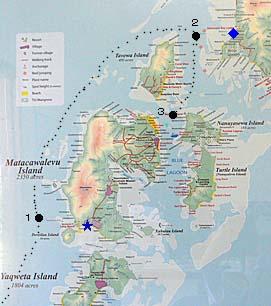 ヤサワ諸島北部の簡易地図