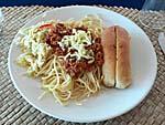 昼食:超しょっぱいスパゲティボロネーゼ
