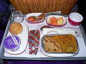 タイ国際航空 バンコクーデリー機内食