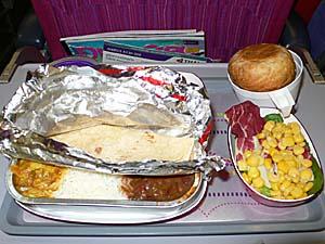 タイ国際航空 コルカタ-バンコク機内食