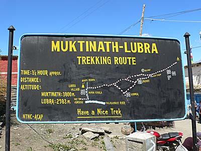 ムクティナートにあるトレッキング用の地図