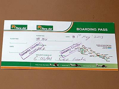 タラ航空の搭乗券