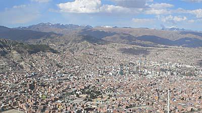 ラパスの町を見下ろす