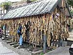 願いを書いた竹筒を引っかける場所