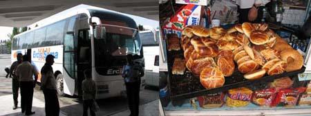 ワンーディヤルバクル行きのバスと売店のパン