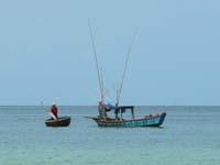 海上で情報交換する漁船