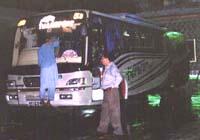 洗車中のバス