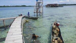 セラム島沖に海中プールを建設中